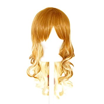 20/'/' Layered Loose Curly Cut w// Long Bangs Brown Fade to Flaxen Blonde Wig
