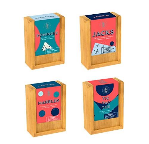 Classic Wooden Games Collection: Dominoes / Jacks / Marbles / Tic Tac Toe ()