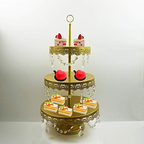 Proshopping 3 Tier Antique Metal Cake Stand, Tiered Classical Round Cupcake Holder, Cake Plate Tray, Cookie Pedestal Display Tower, for Wedding Birthday Party, with Crystals Pendants and Beads, Gold