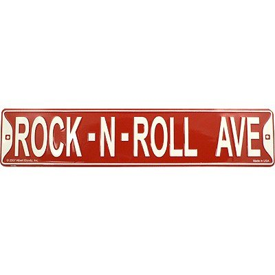 (Gift House Red Street Sign Rock N Roll Ave 5 X 24)