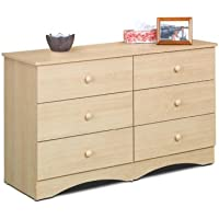 Alegria 5606 6-Drawer Double Dresser from Nexera, Natural Maple