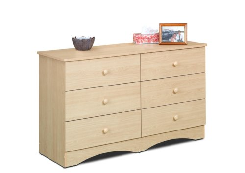 Dresser Six Finish Drawer Maple - Alegria 5606 6-Drawer Double Dresser from Nexera, Natural Maple