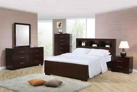 Coaster Jessica Collection 200719QSET 5 PC Bedroom Set with Queen Size Bed + Dresser + Mirror + Chest + Nightstand in Cappuccino by Coaster Home Furnishings