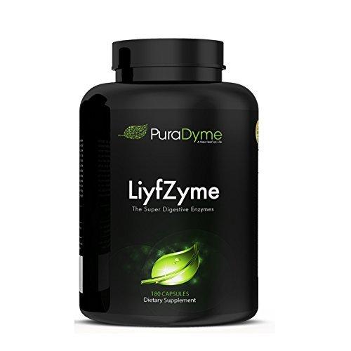 LiyfZyme Plant Based Digestive Enzyme Supplement - 180 Veggie Caps. PuraDyme By Lou Cornoa.