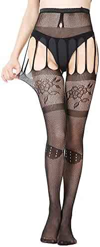 2889e0325 VEZARON 2019 Women Sexy Pantyhose Soft Tights Lingerie Silk Stockings  Erotic Bodysuit Thigh Garter Belt Lace