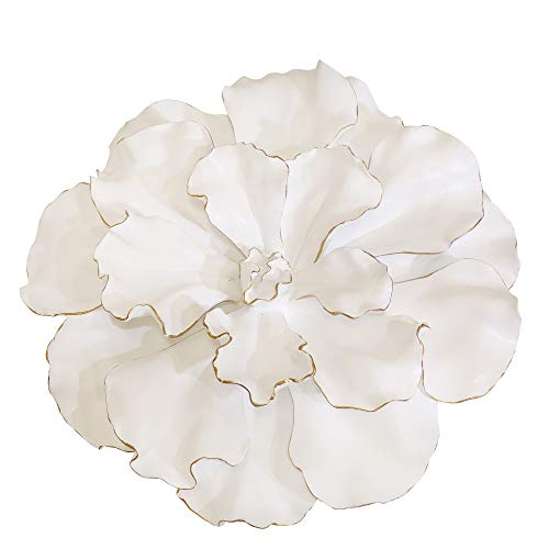 Sagebrook Home 12040 Flower Wall Plaque, White/Gold Polyresin, 15.5 x 15.5 x 4.5 Inches