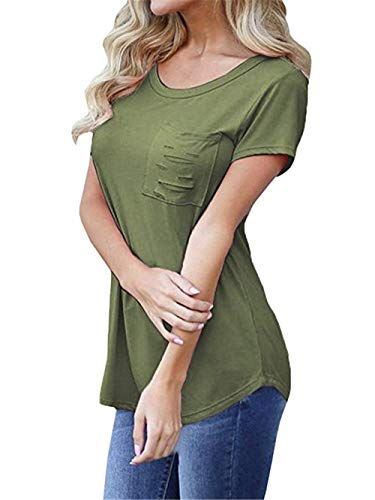 Confortable Shirt Col Fit Spcial Courtes Poches Rond Mode Slim Branch Et Trous T lgant Avant Gr Manche Shirts Top Uni Tshirt Femme Manches Style 1PwxZ