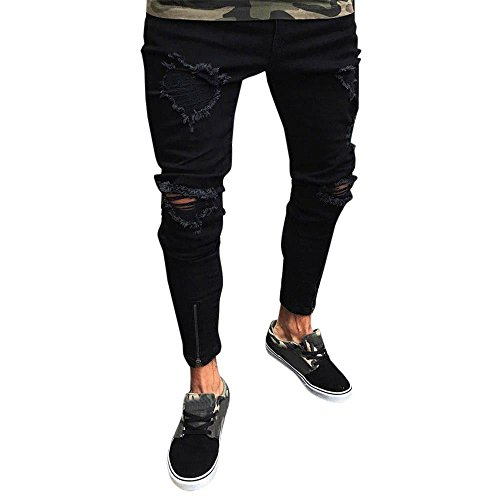 iZHH Men Slim Biker Denim Jeans Skinny Frayed Pants Distressed Rip (Design History Black Stretch Jersey)