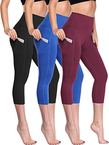 (Neleus Women's 3 Pack Tummy Control High Waist Capris Leggings with Two Pockets,109,Black,Blue,Wine Red,M)