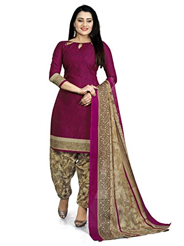 Rajnandini Women's Cotton Unstitched Salwar Suit (JOPL4005J_Purple_Free Size)
