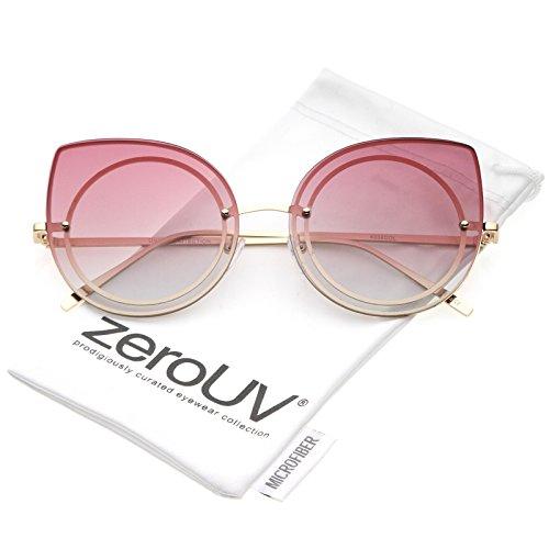 zeroUV - Women's Oversize Rimless Colored Gradient Flat Lens Cat Eye Sunglasses 63mm (Gold / (Cheap Coloured Contact Lenses)