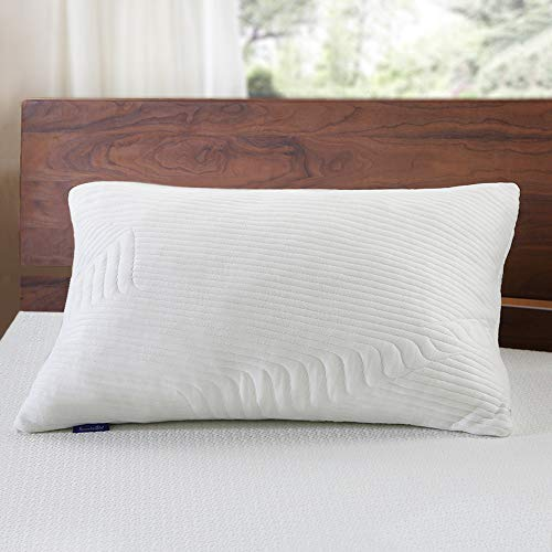 Impressions Pillow Memory Foam (Sweetnight Bamboo Bed Pillows for Sleeping - Adjustable Loft Gel Shredded Memory Foam Pillow with Removable Case for Neck Pain Relief,Side Back Stomach Sleeper, CertiPUR-US & Hypoallergenic, Standard)