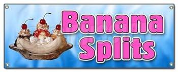 BANANA SPLITS BANNER SIGN ice cream sundae soda cone homemade creamy dessert