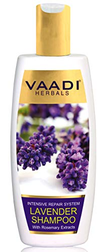 Lavender with Rosemary Extract Shampoo - Intensive Repair Shampoo - all Natural - No Paraben and Sulfate - Scalp Therapy - - Suitable for All Hair Types - 11.8 Ounces - Vaadi Herbals