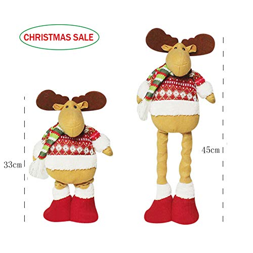 IBLUELOVER Adjustable Telescopic Christmas Fluffy Dolls Standing Figurines Large Extendable from 33cm-45cm Santa Saint Nicholas Mr. Reindeer Table Desk Tree Decorations Festival Ornaments Party Decor