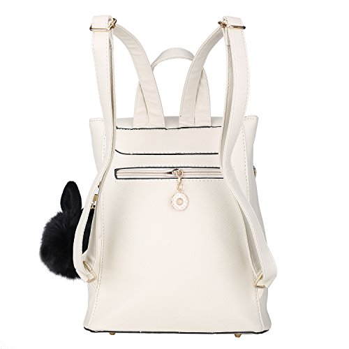 Casual Pom Mini Leather Backpack Backpack Purse Girls Sweet Pom for With Ivory Women daypack FzqLxYT