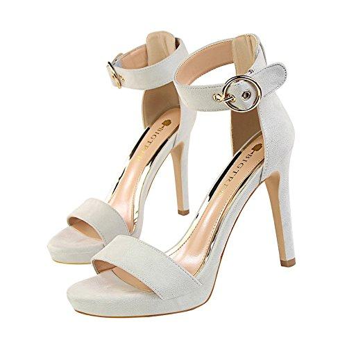 mujer amp;dw tacón fino hebilla de Zapatos tacones Gris cinturón con de z sandalias simple qdStwBqf