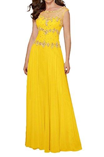 Festlichkleider Lang Gelb Damen Gruen Lemon Steine Marie mit Brautmutterkleider Chiffon Kurzarm Braut Abendkleider La fXqw7UO