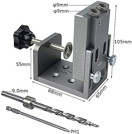 YASE-king Woodworking Oblique wood doweling hole angle punch locator 15 degree vertical drill guide Jig Kit for DIY Carpentry Tools Color : Silver