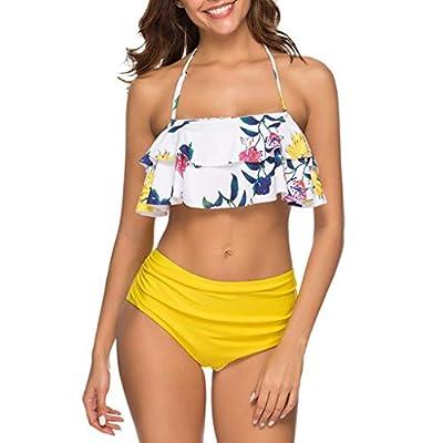 RAINED-Women High Waisted Bikini Ruffled Flounce Crop Bikini Top with Bottom Tankini Racerback Two Piece Swimsuits
