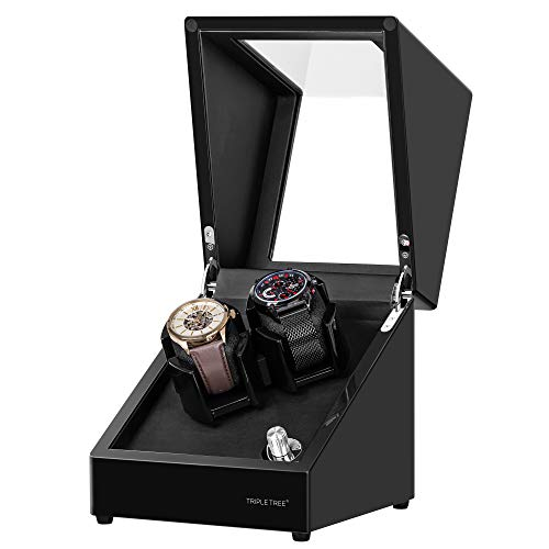 TRIPLE TREE Watch Winder for 2 Automatic Watches, in Wood Shell and Black Piano Paint, with 4 Rotation Mode Setting, Adjustable Watch Pillow for Men
