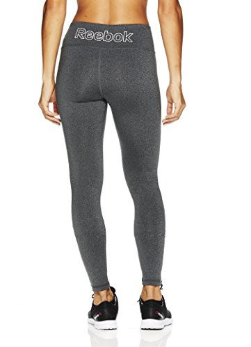 Reebok Women's Legging Full Length Performance Compression Pants- Charcoal Heather - Quick Tight Branded/Grey, X-Large