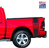Truck Bed Stripes Decals Stickers Hemi Muscles Compatible with Dodge Ram Truck 5.7 L Rebel Cut-Out bedside Pickup 1500 2500 3500 Graphics Accessories Vinyl Decals Racing Bands custom set
