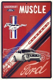 Ford Mustang Legendary Muscle Car Retro Vintage Tin (Classic Mustang Tin Sign)