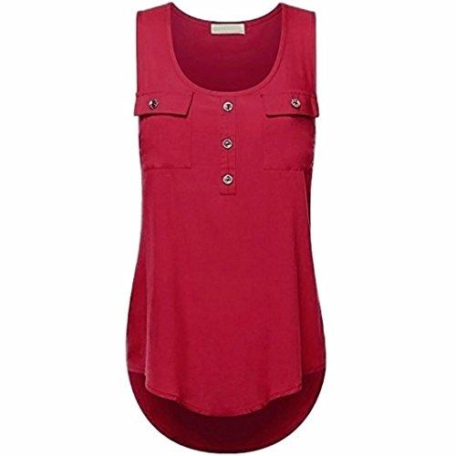 (Kulywon Women's Plus Size T Shirt Scoop Neck Sleeveless Sexy Lace Back Tank Tops Wine Red)