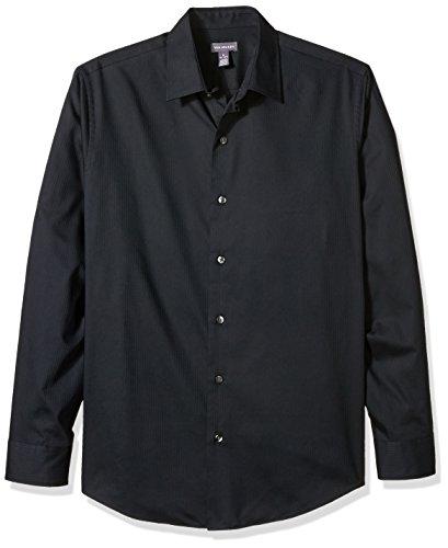 Sateen Stripe Shirt (Van Heusen Men's Long Sleeve Stripe Sateen Shirt, True Black, 2X-Large)