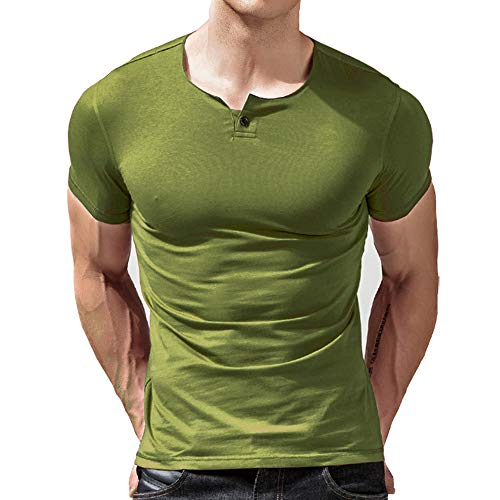 - palglg Mens Short Sleeve Cotton Muscle Slim Fitted Sport Henley T-Shirt with Button Light Green L