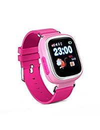 KOSCHEAL Reloj Inteligente para Niños, Reloj Inteligente para niños con pantalla táctil de 1.22 pulgadas, IPS UI dynamic, Pantalla con WiFi, Llamada Bidireccional, Podómetro ,Chat De Voz, GPS, para iOS y Android (Rosa)