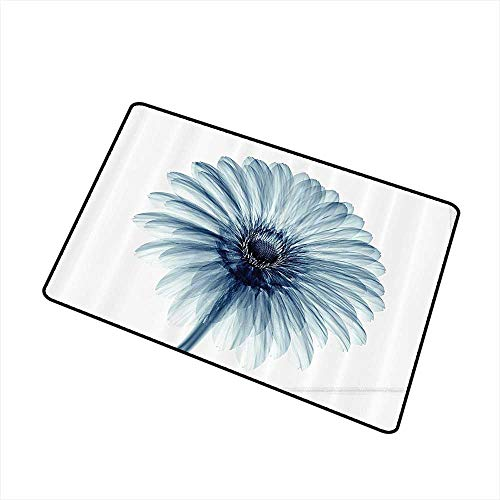 Mdxizc Outdoor Door mat Xray Flower Decor Photo of A Daisy Flower with X Rays Different Look to The Plants in Nature Art Print W31 xL47 Non-Slip Door mat pad Machine can be Washed Teal White