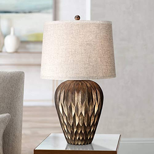 Buckhead Modern Table Lamp Bronze Geometric Pattern Urn Tapered Drum Shade for Living Room Family Bedroom Bedside - Possini Euro Design