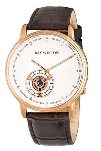 Ray Winton Men's Analog White Dial Brown Genuine Leather Strap Watch