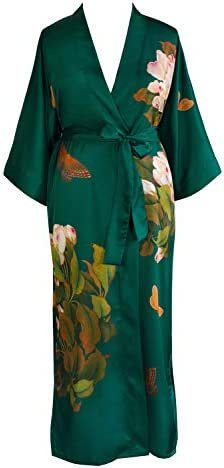 KIM+ONO Women's Plus Size Charmeuse Kimono Robe Long - Watercolor Floral