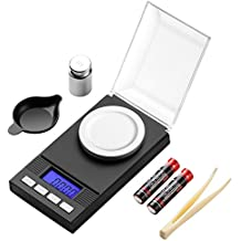 Zilink Digital Milligram Pocket Scale 50g/0.001g Pro Jewelry Lab Carat Powder Scale with Back-Lit LCD Display Auto Off Tare Function Batteries Included