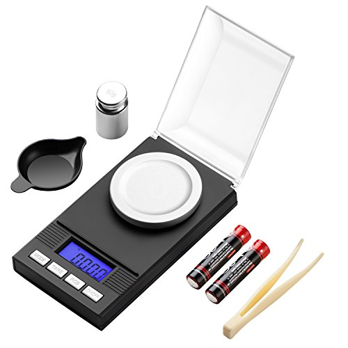 Zilink Digital Milligram Pocket Scale 50g / 0.001g Pro Jewelry Lab Carat Powder Scale With Back-lit LCD Display Auto Off Tare Function Batteries Included