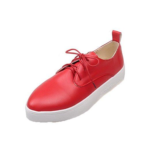 AgooLar Femme Couleur Unie PU Cuir à Talon Bas Rond Lacet Chaussures Légeres Rouge BKkv6FVC3