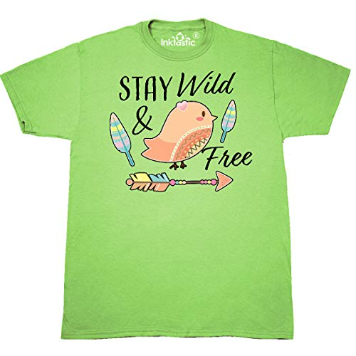 inktastic - Stay Wild & Free with Chick Feathers T-Shirt X-Large Key Lime ()