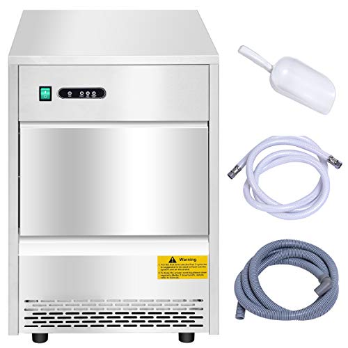 Costzon Commercial Ice Maker, Freestanding Portable Stainless Steel Ice Maker, Under Counter Ice Machine for Party Gathering, Restaurant, Bar, Coffee Shop w/Ice Shovel, Hose (58LBS/24h)