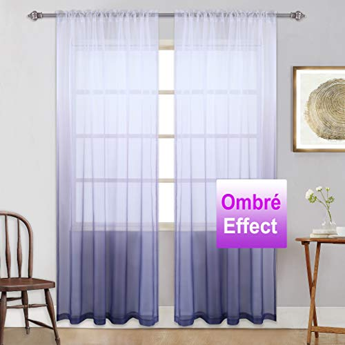 Purple Sheer Curtains Gradient Window Voile Panels/Drapes - Ombre Sheer Curtains for Girls Bedroom/Living Room/Girls Room/Kids Room/Closet/Nursery,2 Panels,52 x 84 Inches,Lavender,Lilac,Light Purple