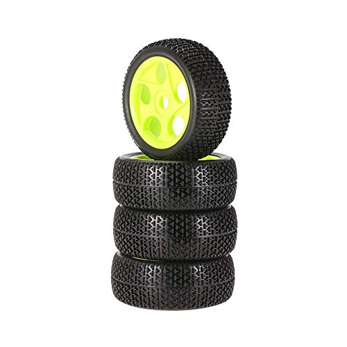 Hot  for 1/8 RC Crawler Buggy Car - 4pcs 112mm Rubber Tires 17mm Hub Hex Wheel Rim Tyre - Green - 8.46