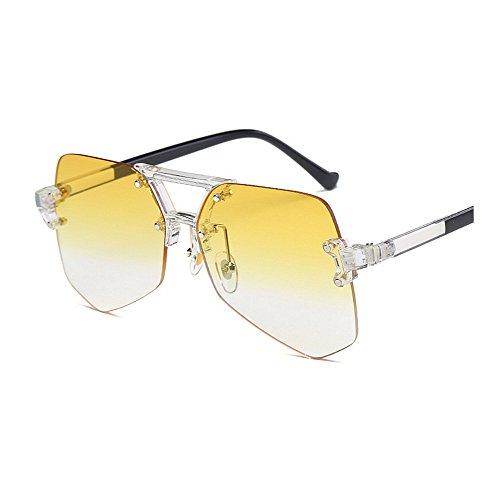 transparente tamaño Retro sol claro UV Irregular gran de sol mujeres conducción colorida Gafas de marco protección hombres gafas viaje para sin de para Personalidad de de de Unisex Amarillo de la gafas esquí 66ZqwIx5r