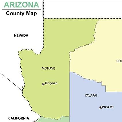 Amazoncom Arizona County Map Laminated 36 W x 3589 H