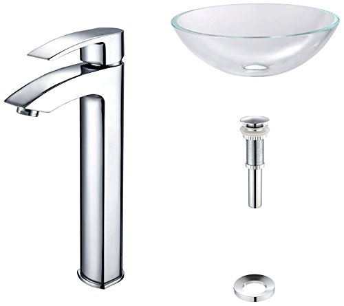 Kraus Crystal - Kraus C-GV-100-12mm-1810CH Crystal Clear Glass Vessel Sink and Visio Faucet Chrome