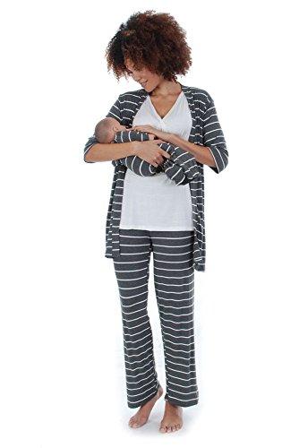 Everly Grey Roxanne 5 PC Mom & Baby Maternity Nursing Pajama Set (X-Large, Charcoal)