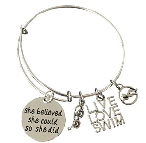 Infinity Collection Swimming Bracelet- Girls Swim Bracelet- Swim Jewelry for Swimmers ()