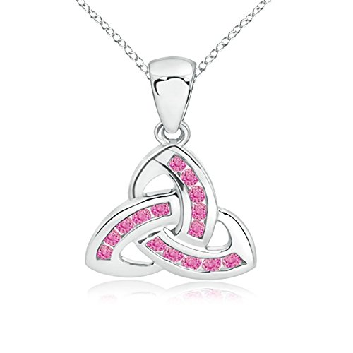 Dangling Channel-Set Pink Sapphire Celtic Knot Pendant in 14K White Gold (1.5mm Pink Sapphire)