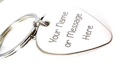 (Guitar Pick - Custom Any Message - Personalized Keychain Stainless Steel Guitar Pick - Key Chain)